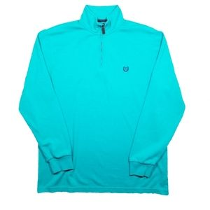 Chaps Turquoise Quarter Zip Pullover